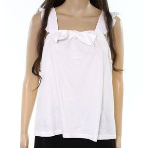 White front knot tie tank